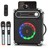 JYX Karaoke Machine with Two Wireless Microphones, Portable Bluetooth Speaker with Bass/Treble Adjustment, Remote Control and LED Lights, Supports TF Card/USB, AUX IN, FM, REC for Party