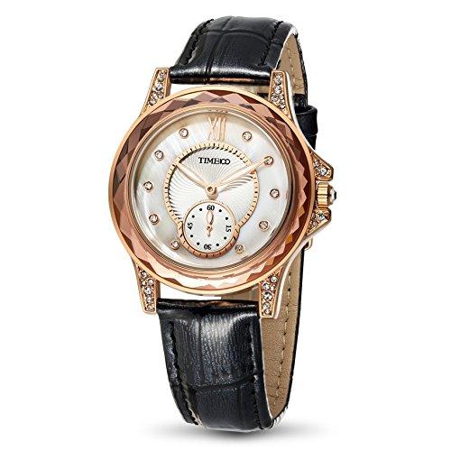 Time100 Orologio Donna da Polsocon i diamanti sfaccettati Movimento al Quarzo Cinturino in Pelle#W80127L.05A(Nero)