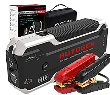 AUTOGEN 4000 Amp 32000mAh Lithium Car Jump Starter  10.0L+ Gas & Diesel  12V Battery Jumper Box Booster Pack USB Quick Charge 3.0 Charger Portable Power Pack for Cars SUVs Trucks