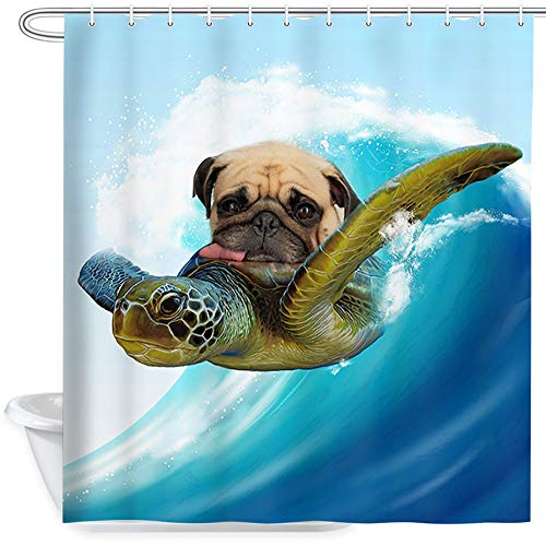 Funny Dog Shower Curtain, Nautical Pug Riding Turtle on Ocean Japanese Art Bathroom Curtains, Tropical Blue Sea View Fabric Shower Curtains Set with Hooks, 69x70 Inches