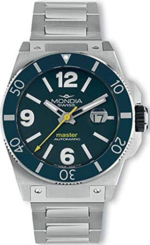 Mondia swiss Master Reloj para Hombre Analógico de Automático Suizo con Brazalete de Acero Inoxidable MS 200-2BL-BM