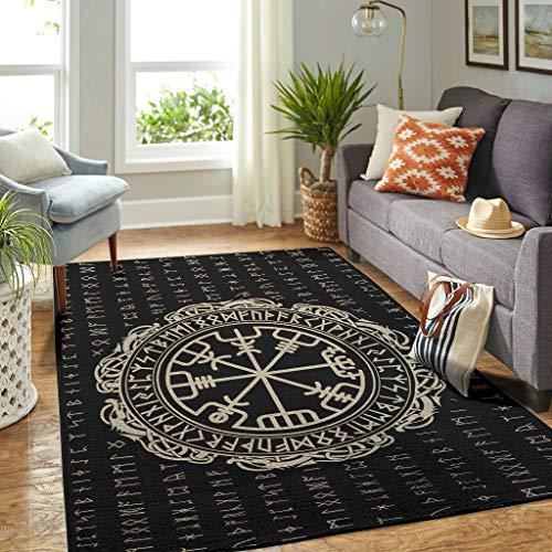 Veryday Wikinger Runen Teppich Dekorativ Wohnzimmerteppich als Türmatte Sauberlaufmatte für Schlafzimmer Küche White 122x183cm