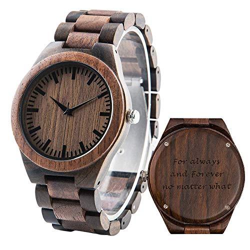 Custom Watch for Men, Engraved Wood Watch, Ebony&Walnut Analog Casual...