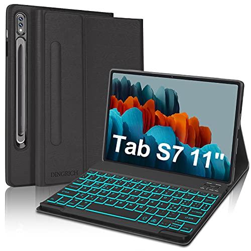 D DINGRICH Custodia Tastiera per Samsung Galaxy Tab S7 11' 2020, Cover con Tastiera per Tablet Samsung S7 (SM-T870/T875), Tastiera Italiana QWERTY Wireless 7 Colori Retroilluminata Rimovibile, Nero
