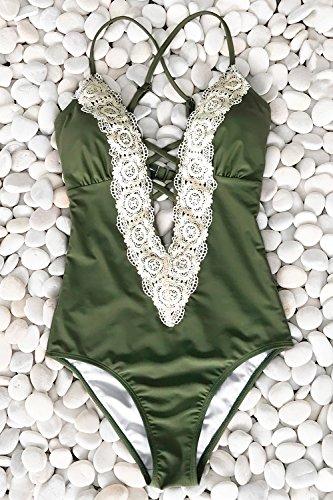 Cupshe Fashion Women s Ladies Vintage Lace Bikini Sets Beach Swimwear Bathing Suit S Green