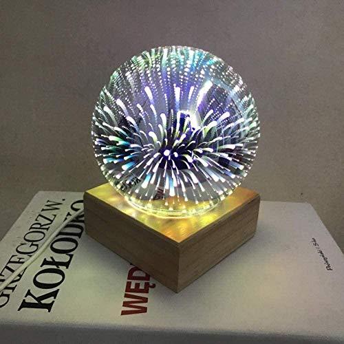 Sterrenprojector Nacht, Kleurrijke 3D Magische Kristallen Bol Projectielamp Usb Slaapkamer Romantisch Nachtkastje Nachtlampje Massief hout Decoratie Sterrenhemel Licht