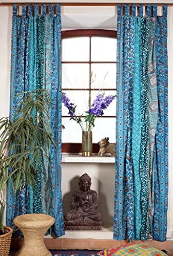 Guru-Shop Boho Patchwork Vorhänge, 1 Paar Bohemia Gardine aus Sareestoff, Unikat - Türkis, Synthetisch, 230x100 cm, Dekovorhänge