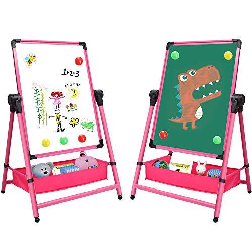 Arkmiido Kinder Staffelei Doppelseitige Staffelei Whiteboard & Tafel mit Verstellbarem Stand & Turn 360 Grad (Rosa)