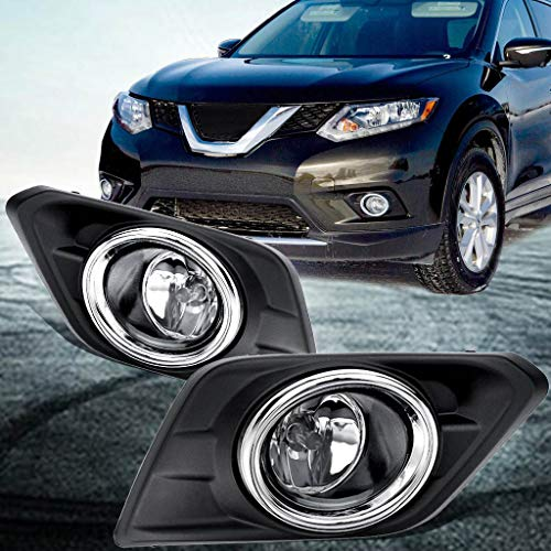for 14-16 Nissan Ro-GUE Chrome Lens Pair Fog Light Lamp+ Bezel 2014-2016