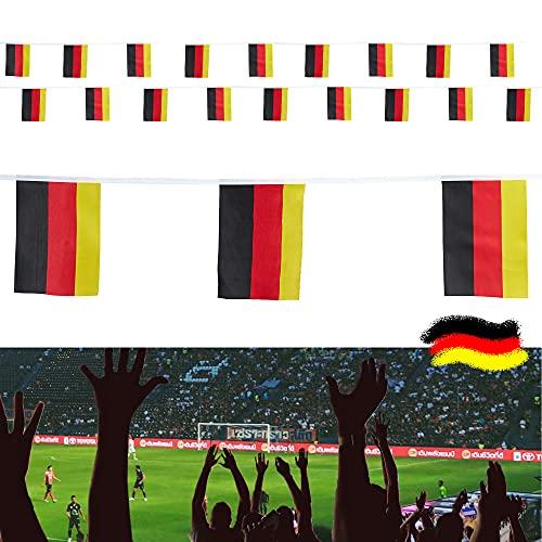 Articolo per tifosi del Mondo EM, ghirlanda di bandierine, 7 metri, 18 bandiere per tifosi Public Viewing, nero rosso e oro (1 x ghirlanda da 7 m Germania)