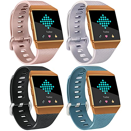[4 Pack] Sport Bands Compatible with Fitbit Ionic Bands for Women Men, Classic Replacement Accessory Wristbands Compatible with Fitbit Ionic, Rose Gold, Silver, Black, Slate, Small