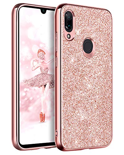 BENTOBEN Funda Compatible Xiaomi Redmi 7, Carcasa Cover Ultra Delgada Brillante Purpurina Resistente Silicona PC Protectora Funda para Xiaomi Redmi 7 6.26''(No para Xiaomi Redmi Note 7) - Oro Rosa