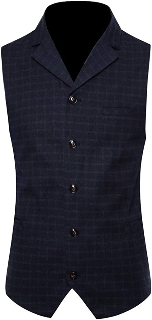 Mens Casual Plaid Formal Single Breasted Waistcoat Tuxedo Suit Vest