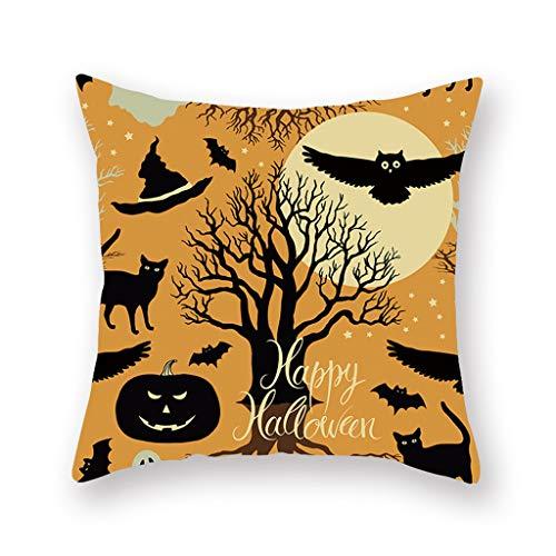 Iusun Fall Halloween Pumpkin Pillow Covers 17.72 x 17.72 Inches Fall Square Waist Throw Case Autumn Harvest Season Decor Sofa Home Decor Cushion Covers (I)