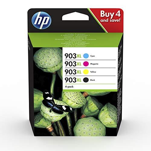 HP 903XL 3HZ51AE, Negro, Cian, Magenta y Amarillo, Cartuchos de Tinta de Alta Capacidad Originales, Pack de 4, compatible con impresoras de inyección de tinta HP OfficeJet 6950 y HP OfficeJet Pro 6960