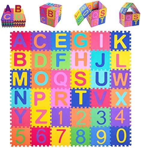 Kangler Kids Foam Puzzle Play Mat 36 Piece Set Interlocking EVA Floor Tiles with Alphabet and product image