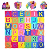 Kangler Kids Foam Puzzle Play Mat (36-Piece Set) 5.9inch x 5.9inch Interlocking EVA Floor Tiles with Alphabet and Numbers