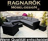 PolyRattan Lounge DEUTSCHE Marke - EIGNENE Produktion - 8 Jahre GARANTIE auf UV Besträndigkeit - Garten Möbel Glas und Polster Ragnarök-Möbeldesigntur SCHWARZ Gartenmöbel Aluminium Rostfrei