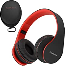 PowerLocus Wireless Bluetooth Over-Ear Stereo Foldable Headphones, Wired Headsets with Built-in Microphone for iPhone, Samsung, LG, iPad (Black/Red)