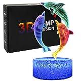Opaltool 3D Lámpara óptico Illusions Luz Nocturna, Delfín Lámpara de Ilusión 3D con Cambio Dinámico de Color, Interruptor Táctil, Base Agrietada, Regalo Romántico para el Amante, Esposa (4)