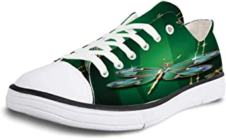 K0k2t0 Canvas Sneaker Low Top Shoes,Dragonfly,Dragonflies Flower Field Spring Season Inspirational Natural Ecological Life Theme