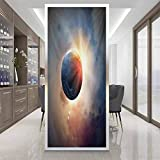 glass film Window stickers W 17.7' x L 35.4' sticker glass door window film,Static Cling Window Sticker,World,Days Cycle Theme Rising Sun Planet in Space Astronomy Cloudscape Atmosphere,Yellow Blue Be