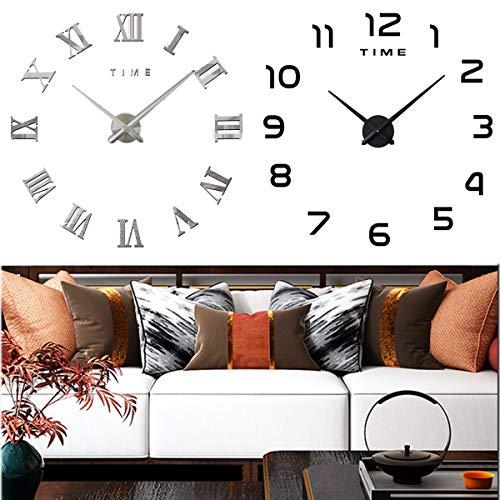 Yueser 2 Piezas Reloj de Pared 3D Grande Moderno DIY Reloj de Etiqueta de Pared para Decorar La Oficina o Casa (Negro,Plata)