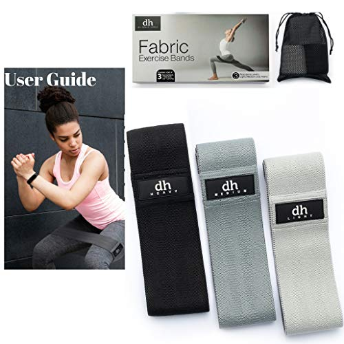 Demag Homes Fabric Booty Bands Resistance Bands-Fabric Resistance Bands for Legs and Butt with Carrying Bag Plus Wrist Band and Exercise Guide eBook