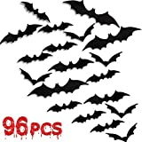 96 Pieces Halloween 3D Bats Decoration, Halloween Party Supplies Scary Bat Sticker Bat Wall Decal for Home Decor DIY Window Decal Bathroom Indoor