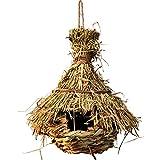 Yinuneronsty Nido de pájaro de hierba natural, jaula de huevos al aire libre decorativa tipo de tejido colgante