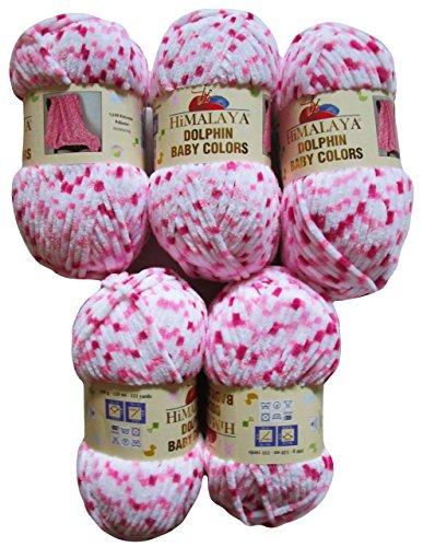 Ilkadim 5 x 100 Gramm Babywolle 80414 pink rosa weiß, 500 Gramm Wolle Super Bulky zum Stricken und Häkeln