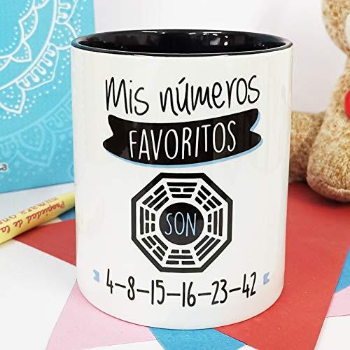 La Mente es Maravillosa - Taza con Frase y dibujo. Regalo original y gracioso (Mis números favoritos son 4-8-15-16-23-42) Taza Serie Perdids