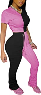 Aro Lora Womens 2 Piece Tracksuit Jogging Suit Color Block Crop Top and Ruched Slit Flare Pant Set