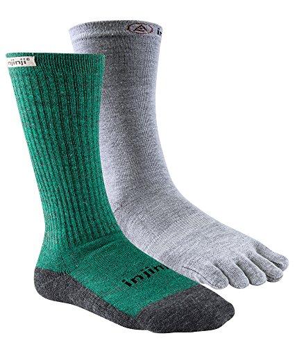 Injinji Mens Liner+Hiker Socks Forest Grey 37-44
