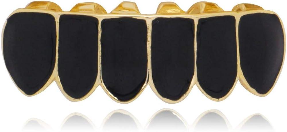 OOCC 18K Gun Black Plated Hip Hop Punk Fit Teeth Grillz Caps Top & Bottom Grill Set