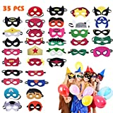 Hossom Superhelden Masken, Filz Masken, Filz Superhero Cosplay Party Masken, 35 Stücke Superheld...