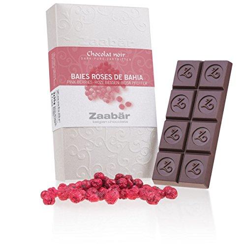 Zaabär Duo - Baies Roses de Bahia - zwei Tafeln aus Zartbitterschokolade mit rosa Pfeffer | belgische Schokolade | Geschenkidee | Papa | Mama | Kinder | Schoko | Erwachsene | luxuriöse Kombination