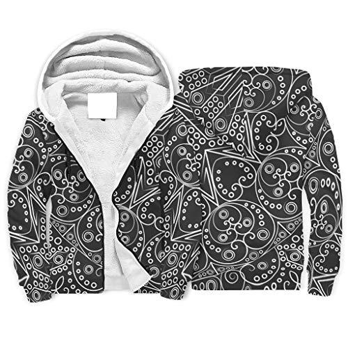 Knowikonwn Dreamy Felpa in pile con cappuccio a doppio strato, arte etnica con tasca uniforme, bianco 3 m