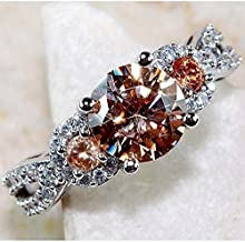 Phetmanee Shop Glamorous 925 Silver Brown Sapphire Gems Rings Women Wedding Party Jewelry Gifts (7)