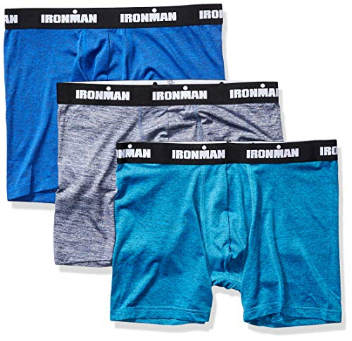 IRONMAN Herren Flex Tech Multipack Boxer Brief Slip, Navy Space Dye/Cobalt Space Dye/Bright Blue Space Dye, X-Large