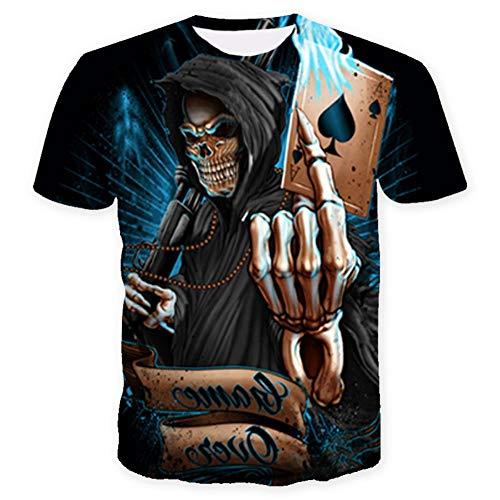 XIAOBAOZITXU T-Shirt 3D-Digitaldruck Pullover Kurze Ärmel Rundhals Totenkopf Sommerkleidung Für Männer Und Frauen M