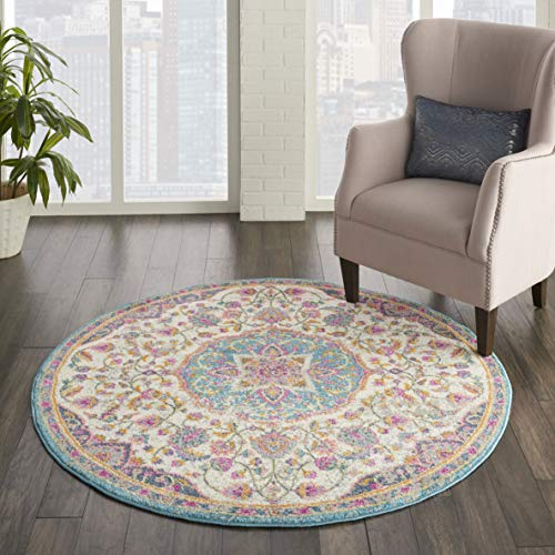 Nourison Passion Ivory/Multi Traditional Persian, Vintage Area Rug 4'XROUND