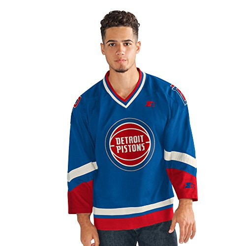 STARTER Men's NBA Legend Hockey Jersey Detroit Pistons, Royal, Large