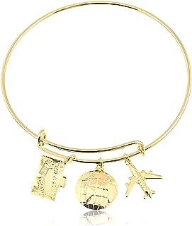 Bracelete regulável com pingente de avião, mala e globo folheado em ouro 18k