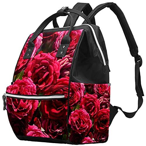 WJJSXKA Mochilas Bolsa de pañales Mochila para portátil Mochila de viaje Senderismo Mochila para mujeres Hombres - Flor Planta Rosa Naturaleza Jardín