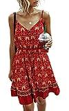 Spec4Y Damen Kleider Kurz Blumen Sommerkleid Swing V Ausschnitt Ärmellos Minikleid A Linie Skatekleid 185 Weinrot Small