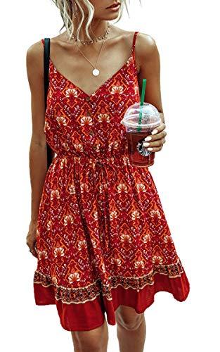 Spec4Y Damen Kleider Kurz Blumen Sommerkleid Swing V Ausschnitt Ärmellos Minikleid A Linie Skatekleid 185 Weinrot Medium