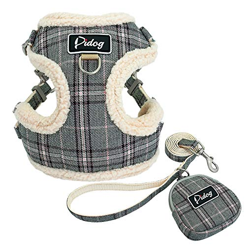 Didog Soft/Cosy Dog Vests Harness and Leash Set with Cute Bag,Escape Proof Breathable Mesh Dog Harness,Classic Plaid/Back Openable,Fit Walking Small Dogs, Cats