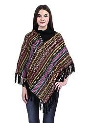 eWools Women Ladies Girls Winter Wear Round Neck Checkered Multicolor Woolen Poncho