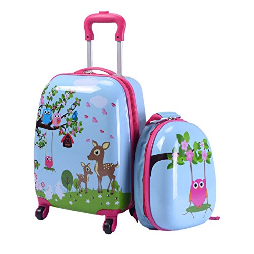 Custpromo 2 pcs ABS Kids Suitcase Lightweight Backpack Luggage Set 16' Carry On Luggage with Spinner Wheels and 12' Backpacks Set for 2, 3, 4 year olds,Boys and Girls (Deer & Birds)